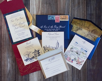 CUSTOM ORDER Elegant Formal Navy Blue, Gold and Red Pocket Wedding Invitation with Vintage Map Envelope Liner & Address Printing