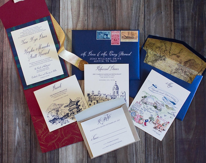 Elegant Formal Navy Blue, Gold and Red Pocket Wedding Invitation with Vintage Map Envelope Liner & Guest/Return Address Printing