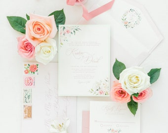 Soft Blush Floral Monogram Wreath Wedding Invitation, Ivory and Mint Calligraphy with Deckled Edges and Envelope Liner - Other Colors