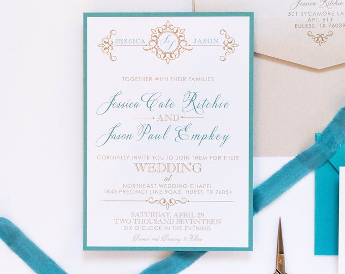 5x7 Jade Green Teal and Gold Formal Modern Wedding Invitation Suite with RSVP & Return Address Printing on the Invitation Envelope