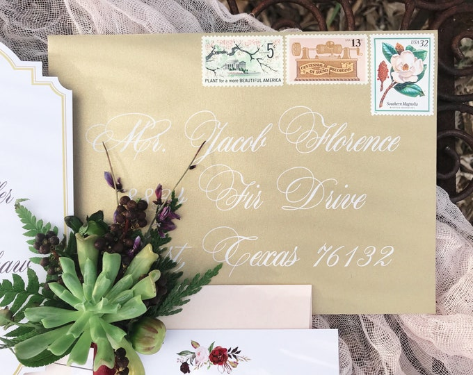 Formal Script, White Ink Printed Envelopes, ENVELOPES INCLUDED, Guest Address Wedding Calligraphy, Multiple Colors & Sizes