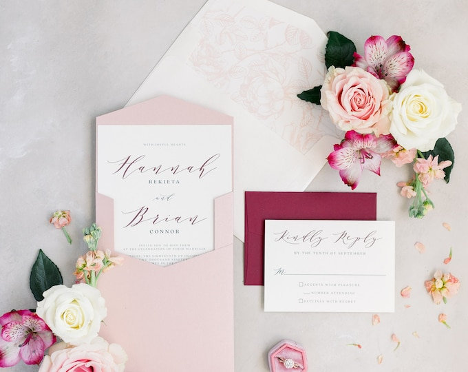 Simple Modern Minimalist Wedding Invitation in Dusty Rose & Burgundy with Pocket, Floral Envelope Liner and Guest Addressing - Other Colors