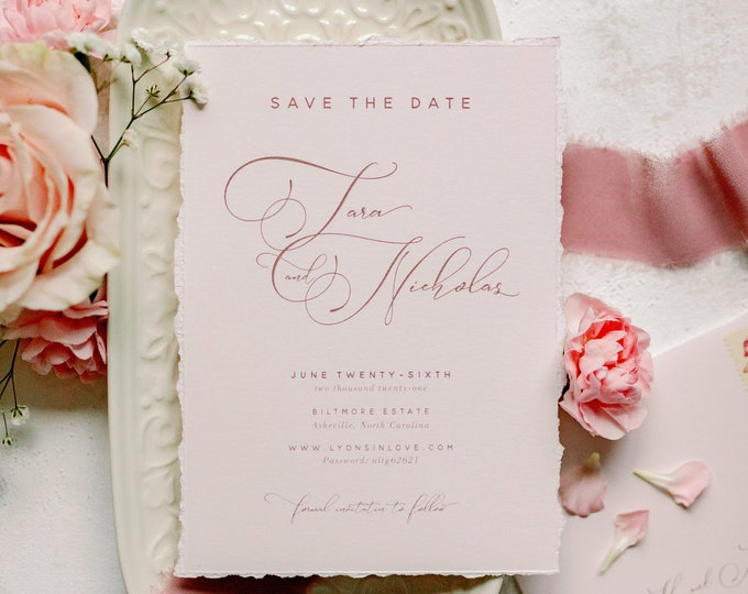 Modern Blush Pink Save the Date with Deckled Edges + Envelope and Guest Addressing —Different Colors Available!