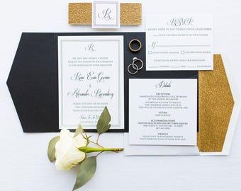 Elegant Traditional Formal Black White and Gold Glitter Pocket Wedding Invitation Envelope Liner, Belly Band, Guest & Return Printing