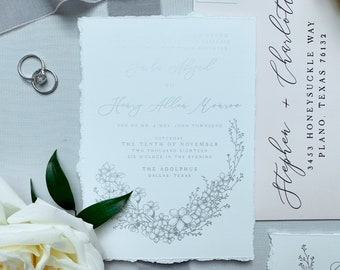Silver & Pale Pink Wedding Invitation, Torn Edges on White Linen with Deckled Edges with Calligraphy and Delicate Hand Drawn Floral