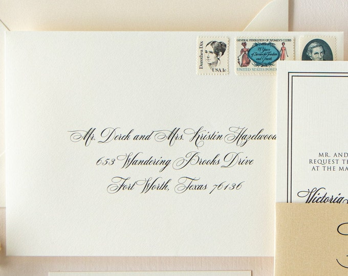 Formal Script on White Envelope Address Printing, Black Tie Event, ENVELOPES INCLUDED, Other Colors & Sizes Available
