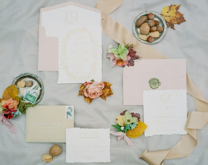 Marble Wedding Invitation with Deckled Edges in Ivory, Gold & Blush Pink Calligraphy Wreath Monogram Crest  — Envelope Liner and Addressing