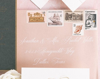 Address Envelope Printing with Playful White Calligraphy on Pink Envelope, ENVELOPES INCLUDED, Other Colors and Sizes Available