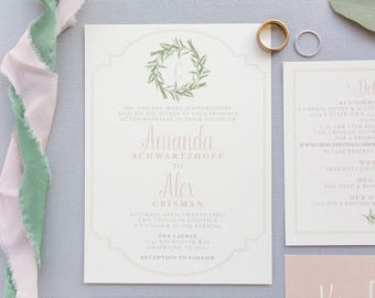 Simple Light Pink Blush Neutral Ivory Garden Greenery Leaves Wreath Monogram Wedding Invitation with Details & RSVP - Other Colors Available