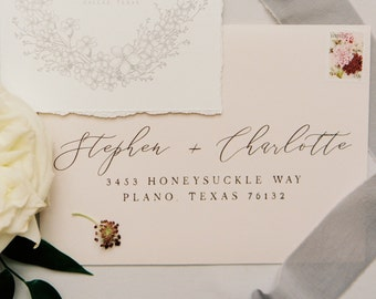 Address Envelope Printing with Pale Pink and Plum, Modern Wedding Calligraphy, ENVELOPES INCLUDED, Other Colors and Sizes Available