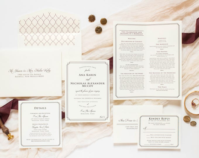 Timeless Simple Formal Classic Elegant Wedding Invitation in Ivory & Black, Details Insert and RSVP (Other Colors Available)