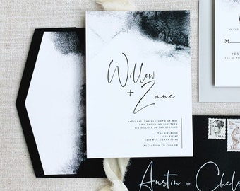 Black & White Watercolor Minimalist Wedding Invitation with Modern Calligraphy and Envelope Liner - Different Color Options