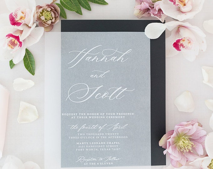 Modern White Ink on Vellum Wedding Invitation in Black and Blush with Envelope and Guest Addressing — Different Colors Available