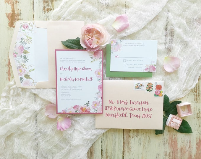 Peonies Ranaculous Garden Floral Flowers Wedding Invitation in Peach Pink Blush — Includes Envelope Liner, RSVP and Address Printing