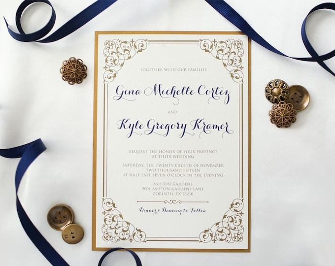CUSTOM ORDER Two Layer Gold and Navy Wedding Invitation, Romantic, Formal and Elegant with Envelope and RSVP - Multiple Color Options.