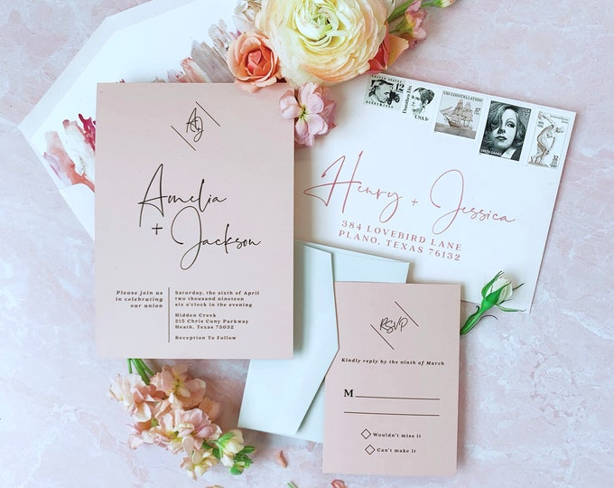 Modern Calligraphy Monogram Wedding Invitation Minimal SimplE Design on Dusty Rose with Black with RSVP & Envelope - Other Color Options
