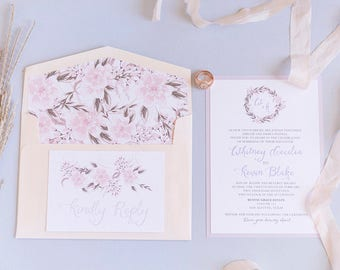 Two Layer Blush Pink and Pale purple Lavender Floral Wedding Invitation with Envelope, Envelope Liner and RSVP - Other Options Available!