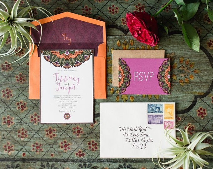 Indian Wedding Invitation in Orange, Plum and Brown with Wood Paper, Kraft RSVP & Monogram Envelope Liner - Different Color Options!