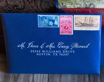 Wedding Calligraphy Address Envelope Printing, 5x7 (Other Sizes & Colors Available) Navy and White, ENVELOPES INCLUDED