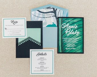 5x7 Back Pocket Tropical Hawaiian Wedding Invitation in Blue & Green — Includes 2 Inserts and Custom Envelope Liner