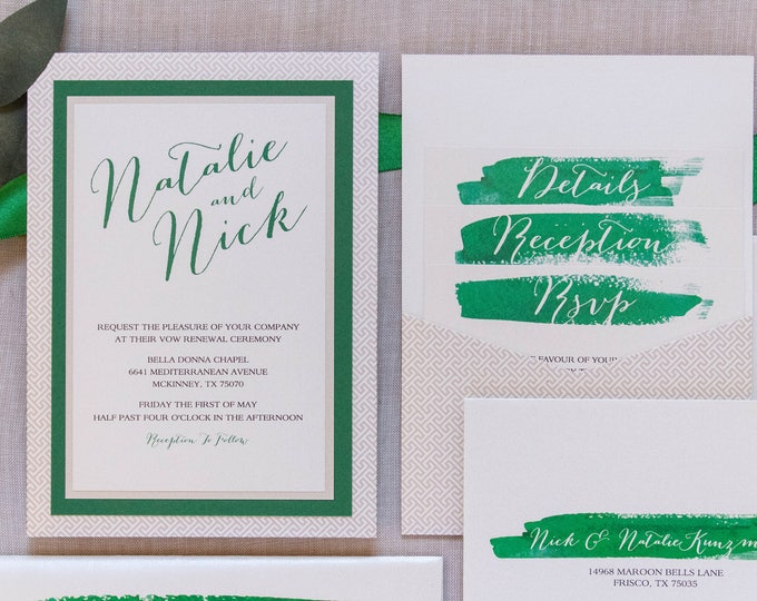 5x7 Green and Champagne Brush Stroke Water Color Back Pocket Wedding Invitation with Multiple Layers & Inserts, Different Colors Available
