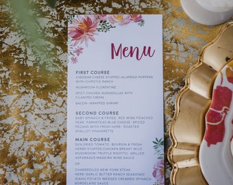 Blush Pink/Hot Pink Flowers Peonies and Floral Printed Wedding Menu