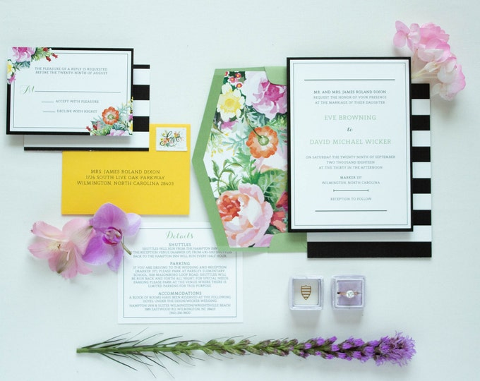 Kate Spade Inspired Bold Black & White Stripes Bright Florals in Pink, Purple and Yellow with RSVP, Envelope Liner - Other Colors Available