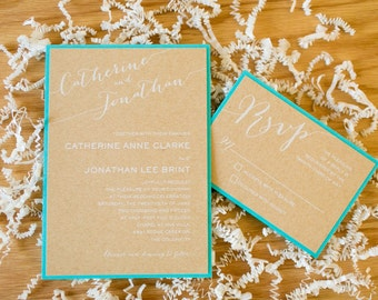 5x7 Layered Aqua Wedding Invitation with Craft Brown Paper and White Ink Printing, RSVP & Custom Envelope Liner in Silver