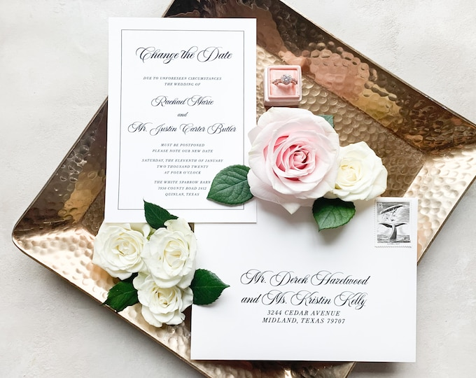 Change the Date Announcement for Wedding in Black and White — Formal, Classic Design with Envelopes & Addressing - Other Colors Available