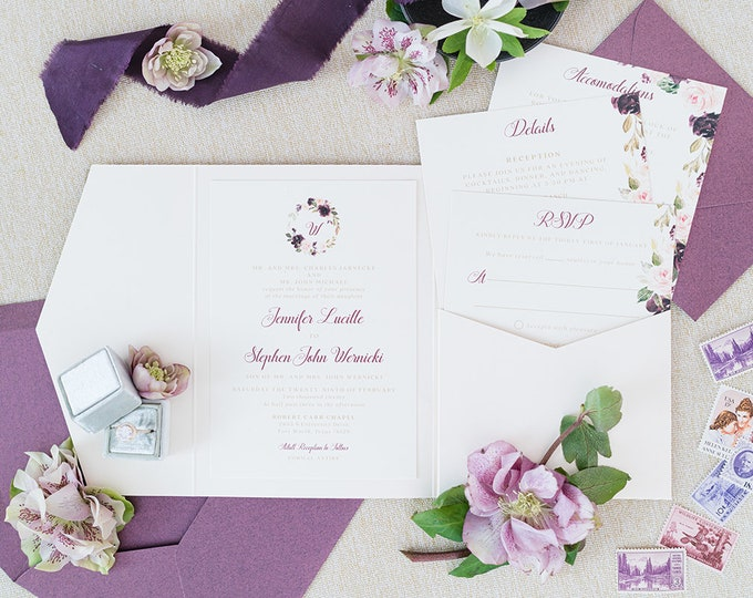 Ivory Pocket Wedding Invitation with Water Color Floral Monogram in Purple, Lavender and Burgundy with Inserts & Return Address Printing