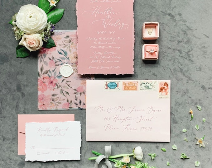 Floral Vellum Wap Wedding Invitation on Dusty Rose White Ink Calligraphy with Torn Edges and Wax Seal - Other Colors