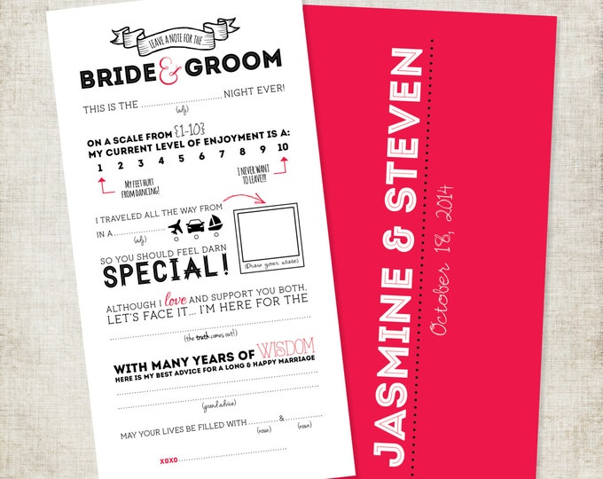 4x8 Wedding Advice Card Mad-Lib Fill in the Blank Style Customize with your Colors, Style & Questions