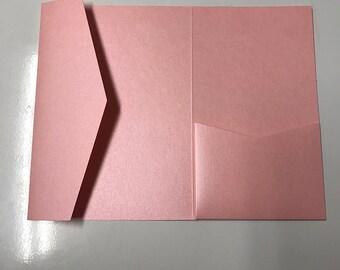 5x7 Pocket for Wedding Invitations in Metallic Light Pink, Rose, Blush
