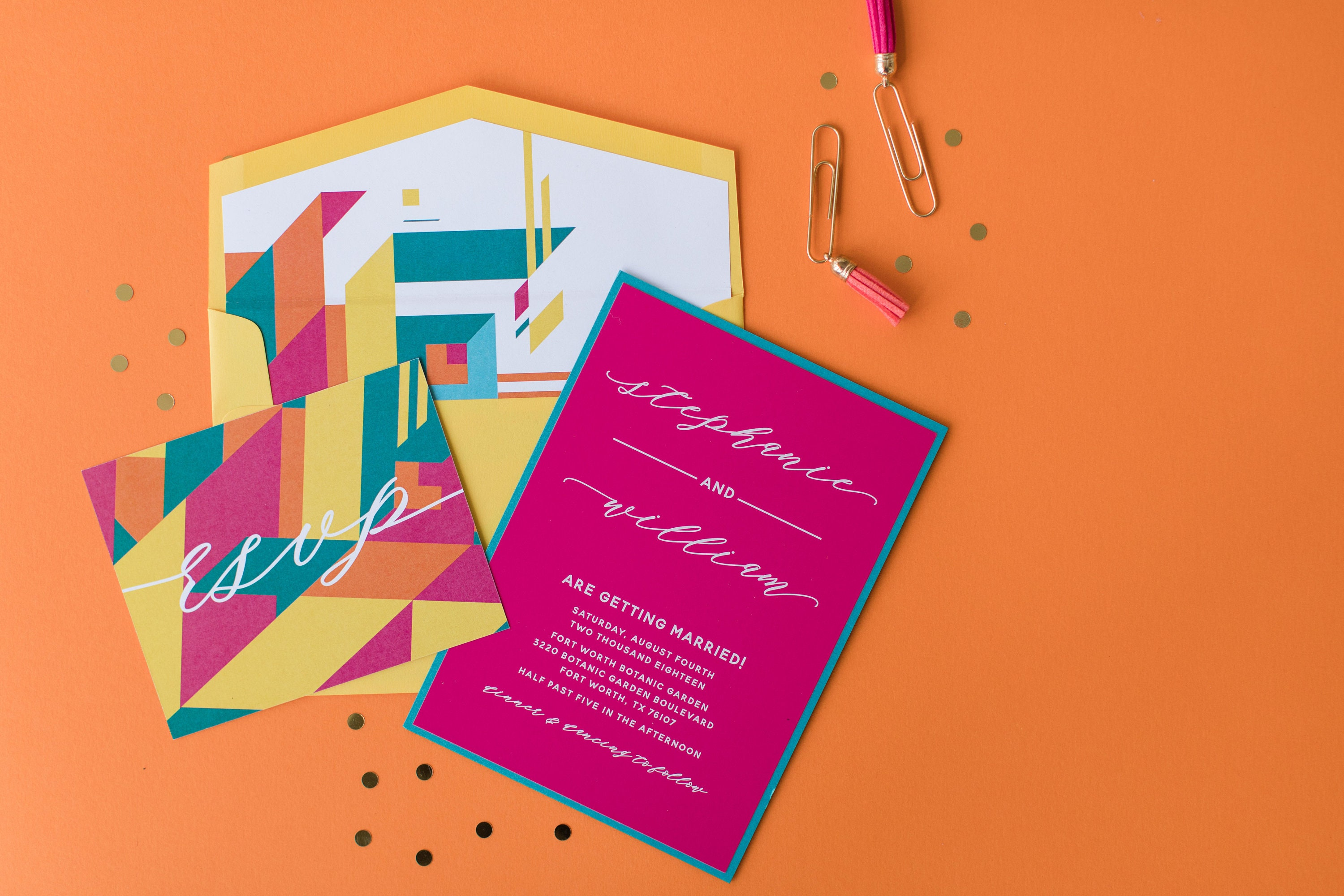 Fuschia And Orange Wedding Invitations: Bright Wedding Invitation, Modern Geometric Shapes With
