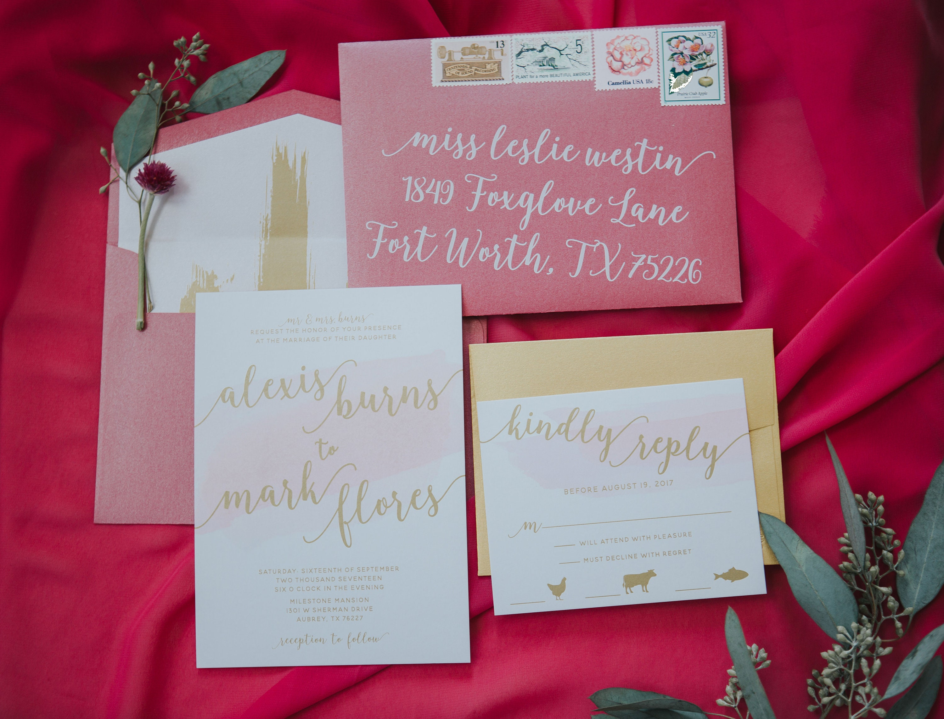 Hot Pink, Blush and Metallic Gold Ink Water Color Wedding Invitation ...