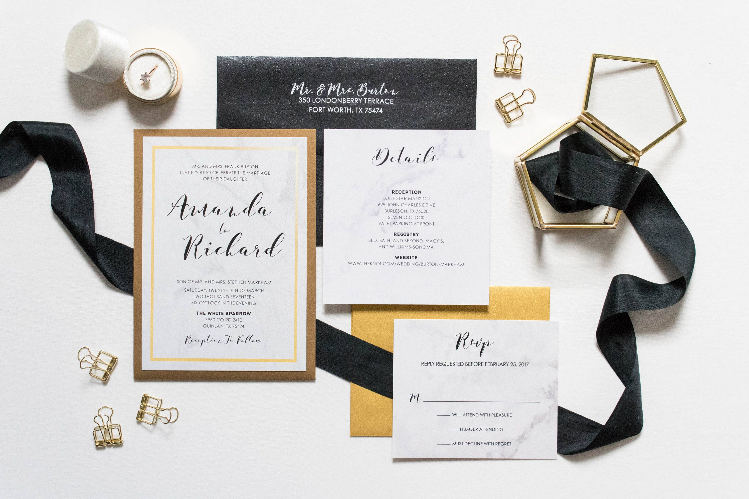 Formal Back Pocket Marble Wedding Invitation in Black and Gold ...