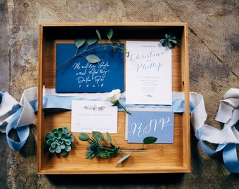 Navy Earthy Garden Greenery Succulents Natural Wood Rustic Wedding Invitation and RSVP. Custom Invite & Envelopes