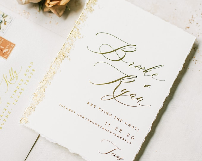 Modern Gold Foil Save the Date with Deckled Edges and Gilded Foil Flake Edge + Envelope and Guest Addressing —Different Colors Available!