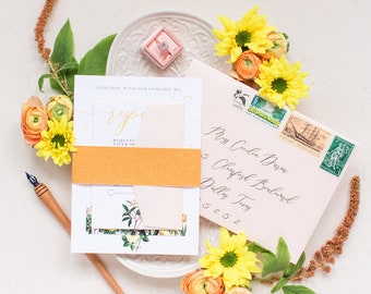 Wildflower Wedding Invitation in Blush, Yellow, Copper, Gold and Green, Includes Belly Band, Wax Seal, Details and RSVP — Other Colors!