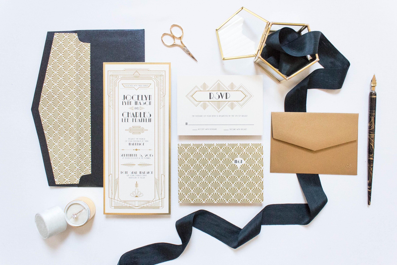 4x9 OR 5x7 Art Deco Gatsby Themed Gold and Black Wedding Invitation ...