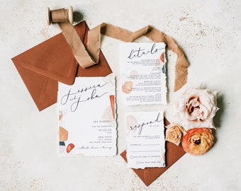 Boho Wedding Invitation with Abstract Shapes in Terra-Cotta, Sepia, Blush and Brown & Ripped Edges — Details, RSVP and Address Printing