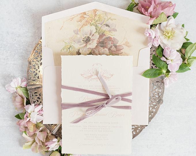 CUSTOM ORDER Crest Monogram Wedding Invitation on Ivory, Vintage Floral Liner in Lavender, Blush Pink with Purple Velvet Ribbon & Addressing