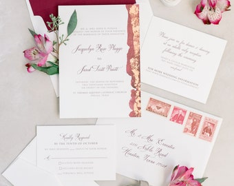 Gilded Copper Foil Wedding Invitation with Water Color and Calligraphy in Burgundy and Maroon, Envelope Liner & Guest Printing - Other Color