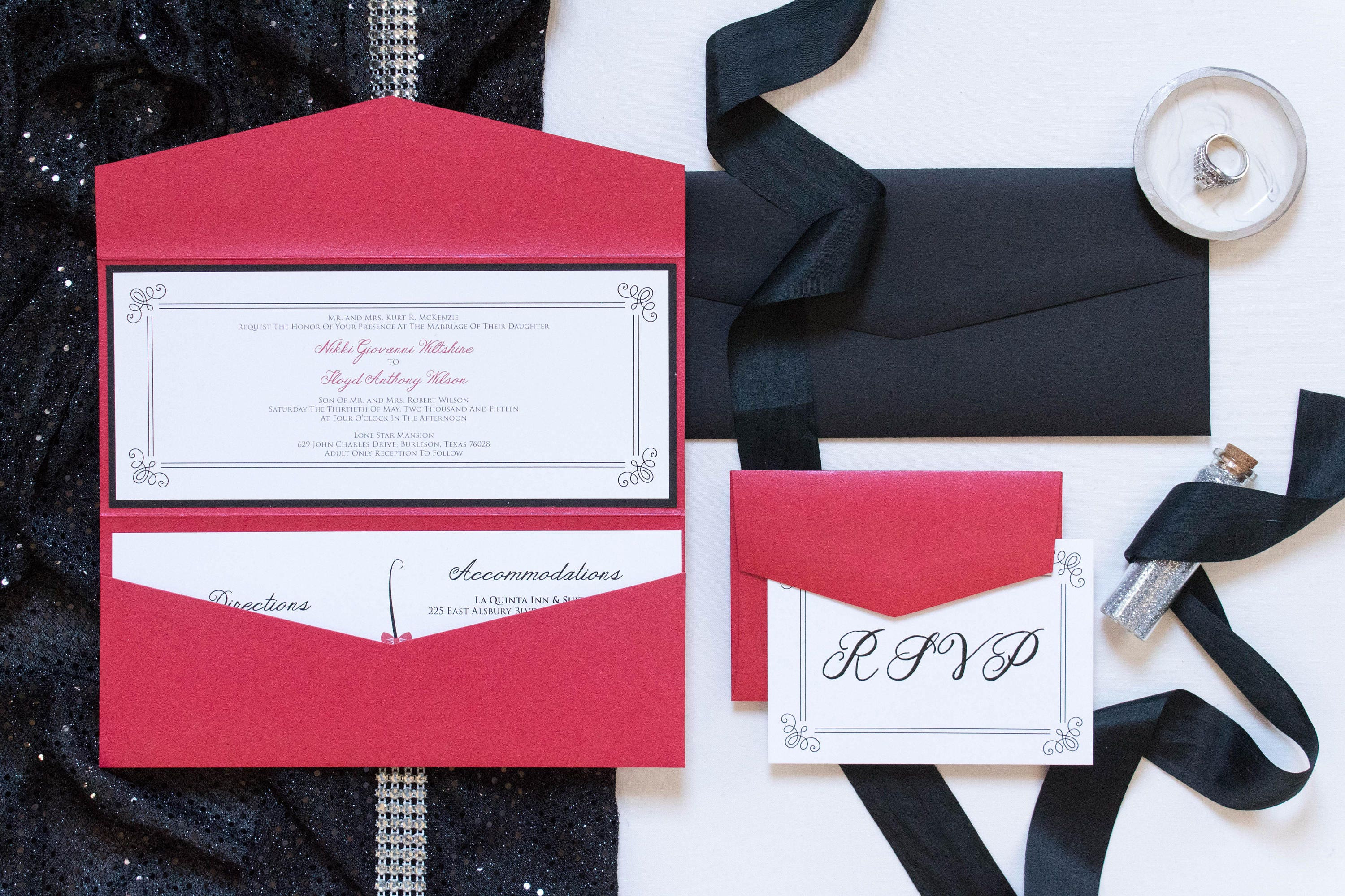 4x9 Odd Size Red and Black Pocket Wedding Invitation with | Etsy