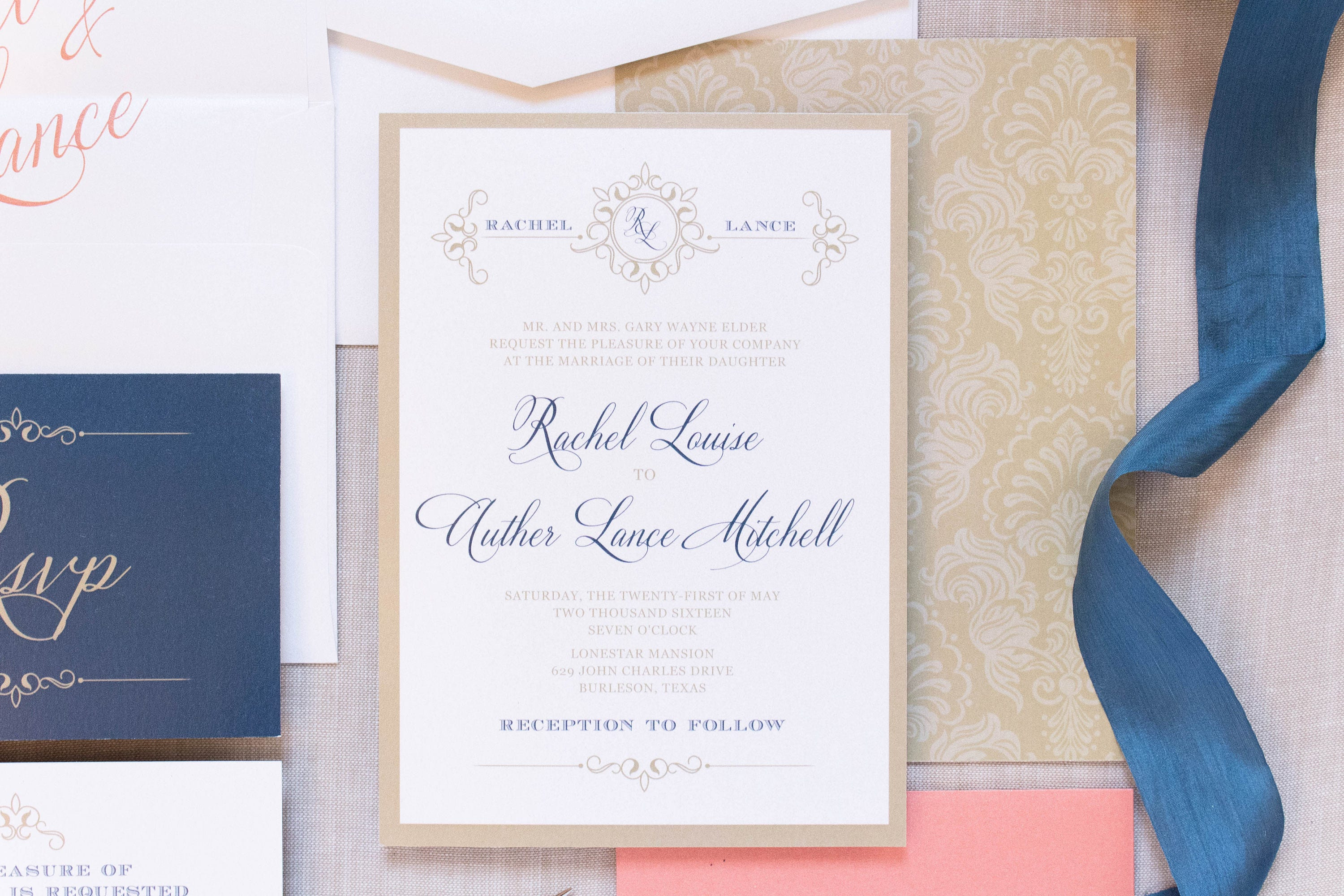 5x7 Gold White Coral & Navy Wedding Invitation Suite with Details ...