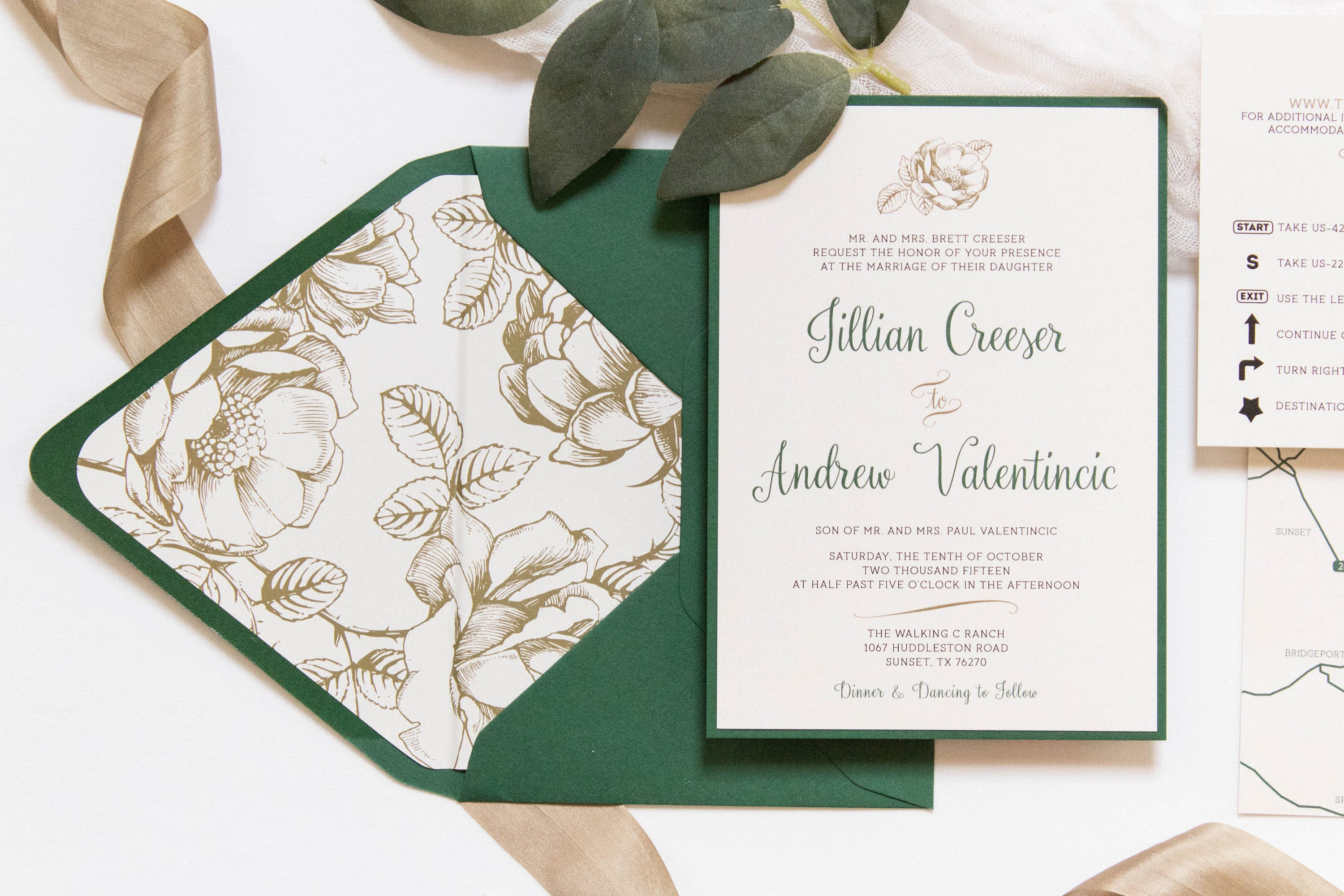 5x7 Metallic Gold Floral & Forest Green Wedding Invitation with ...