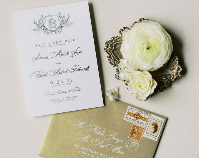 Classic & Formal, Gold Foil Save the Date with Custom Monogram Crest + Envelope and Guest Addressing —Different Colors Available!