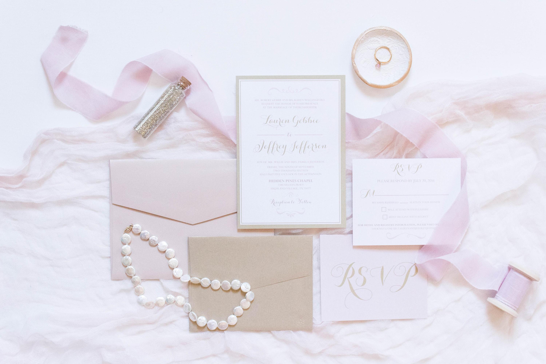 SAMPLE 5x7 Pink Blush and Champagne Gold Modern Wedding Invitation ...