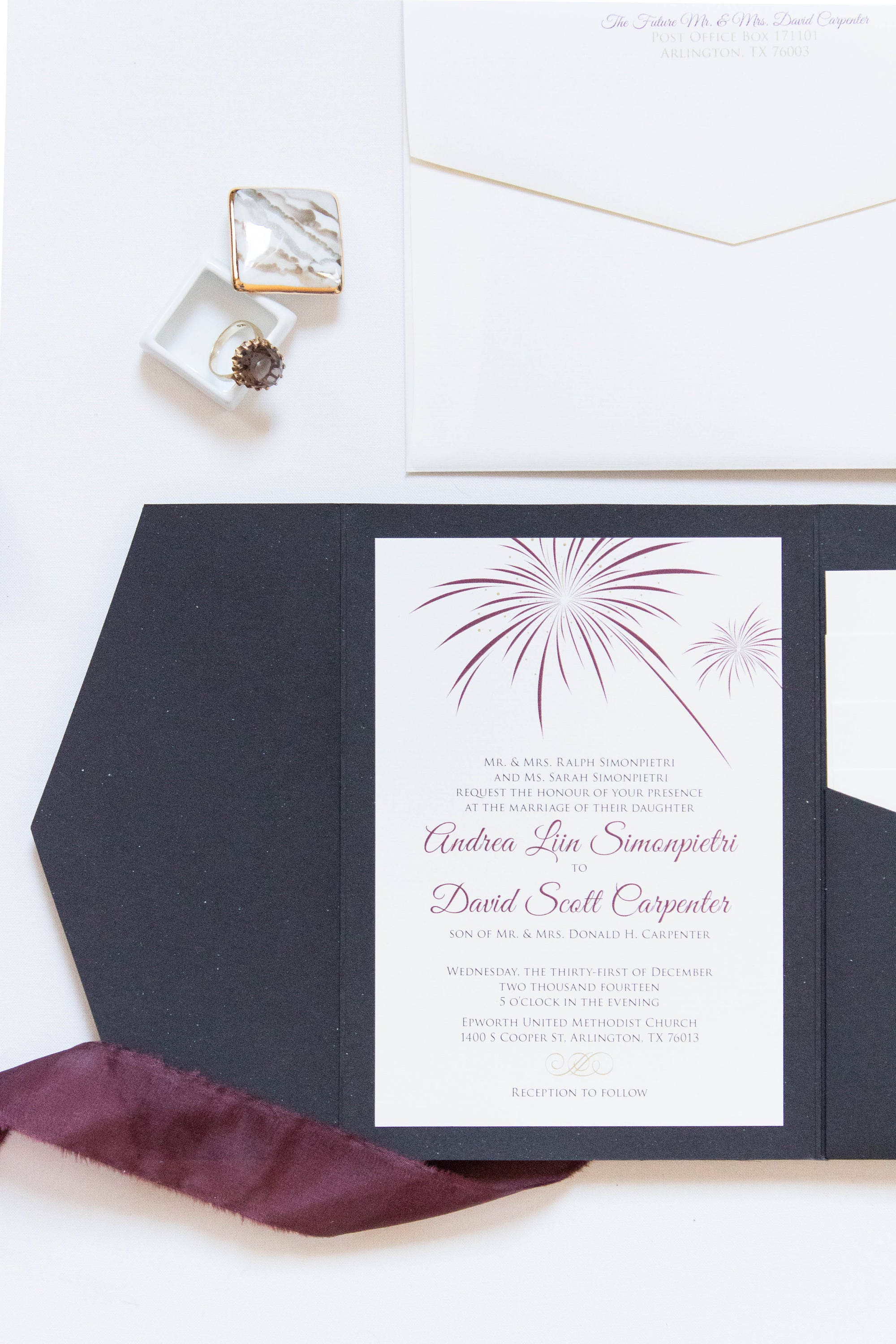 Fireworks New Years Eve or July 4th Theme Pocket Wedding Invitation ...
