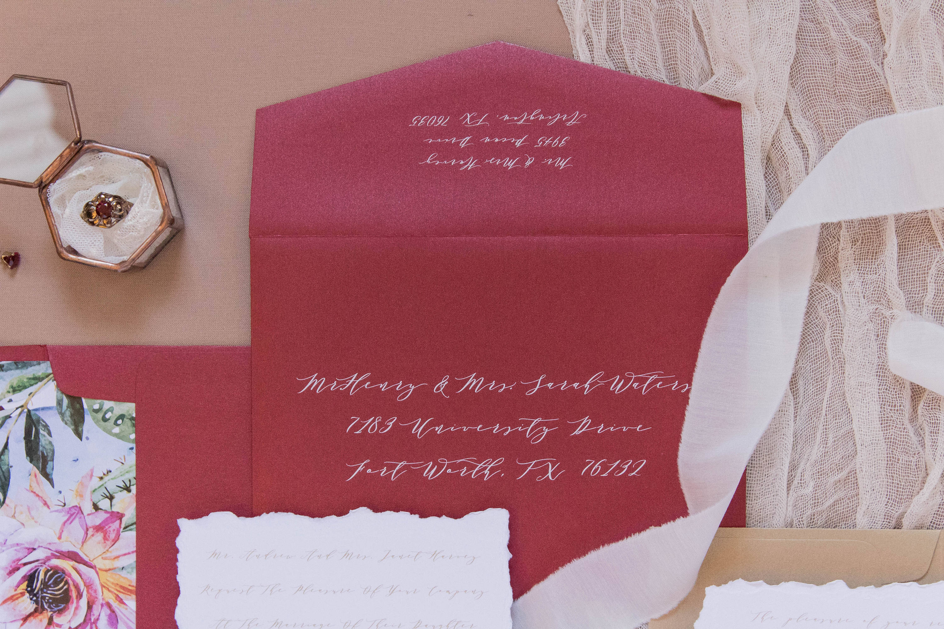 Calligraphy Script Romantic Red and Metallic Gold Wedding Invitation ...